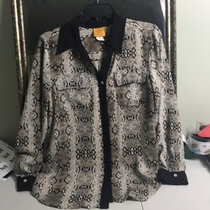 Ruby Road sheer animal print button up shirt Sz 10